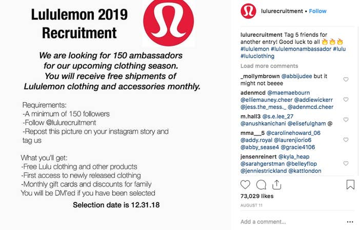 PSA: Lululemon Is Not Looking For Brand Ambassadors With A