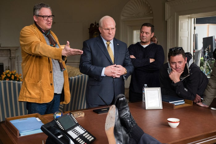 Director Adam McKay (left), actor Christian Bale, producer Kevin Messick, and cinematographer Greig Fraser on the set of Vice.