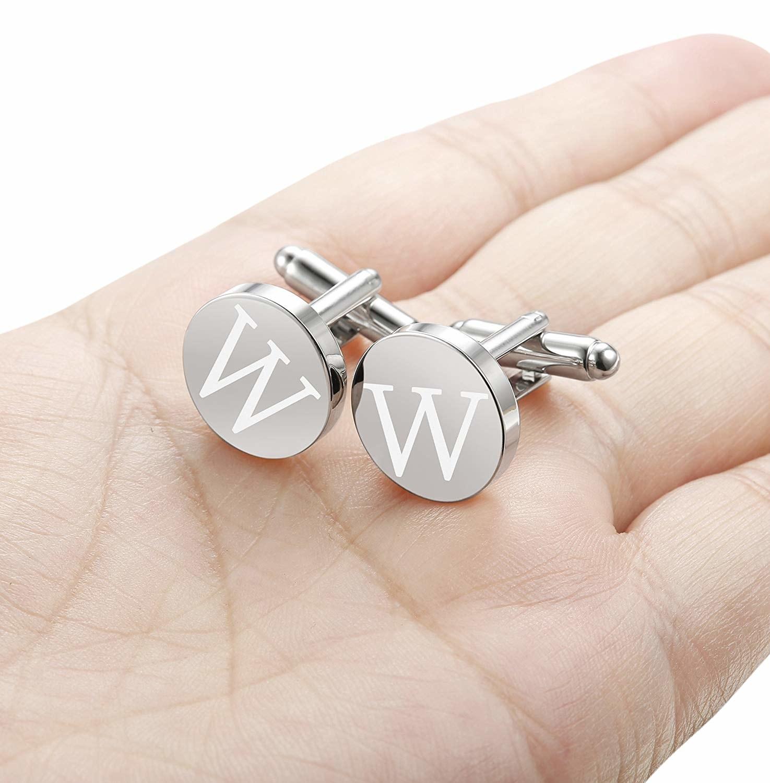The silver tone cufflinks