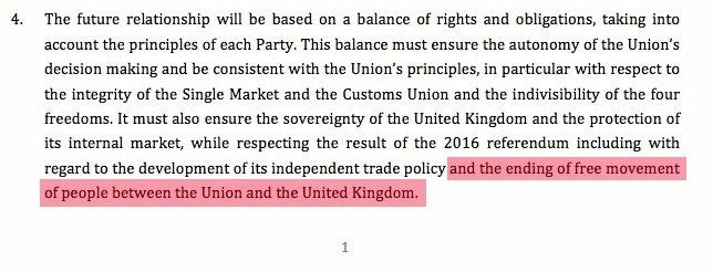 "The reference to the ""ending of free movement of people"", highlighted here by BuzzFeed News, appears on the first page of the political declaration."
