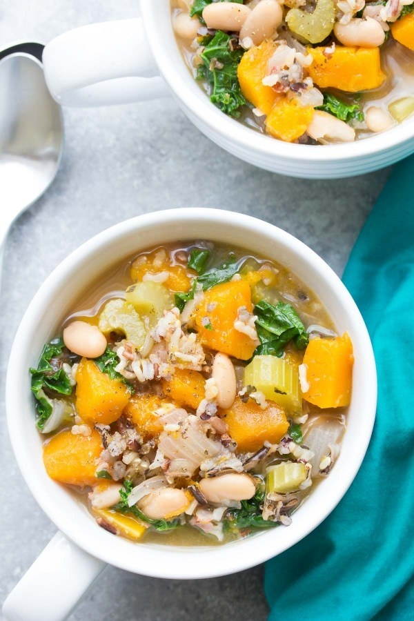 Slow Cooker Wild Rice Vegetable Soup  -  Not only is this soup peak comfort food, it just happens to be vegan, too.