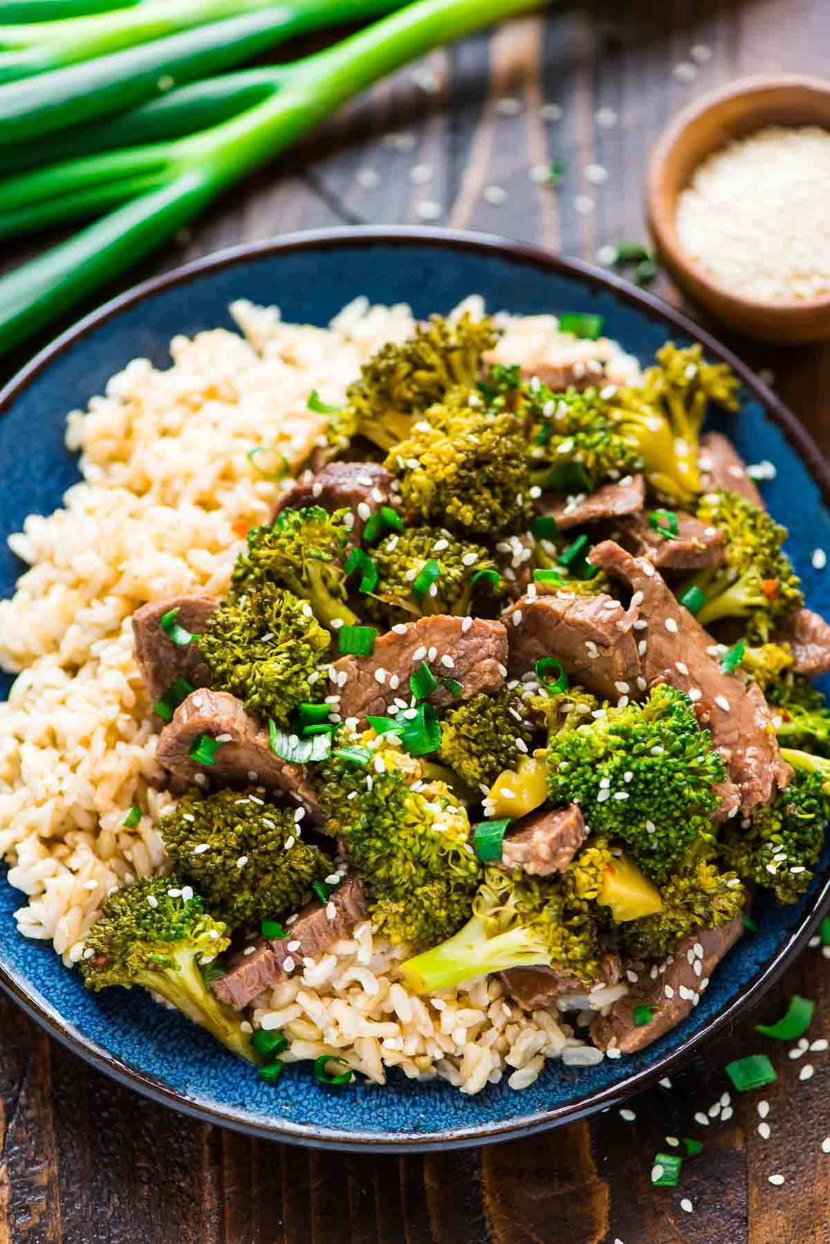 Slow Cooker Beef and Broccoli  -  This slow cooker beef and broccoli only takes two hours to cook, so get it started as soon as you get home and dinner will be ready at the perfect time. Get the recipe .