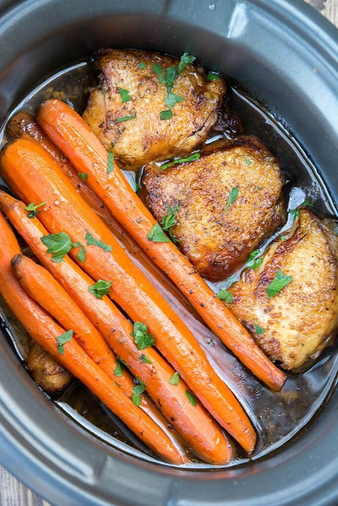 Slow Cooker Balsamic Chicken With Carrots  -  Using chicken thighs instead of breasts makes sure the long cooking time doesn't dry them out, but you can substitute breasts if you want. (Just make sure to keep an eye on them so they don't overcook.)  Get the recipe .