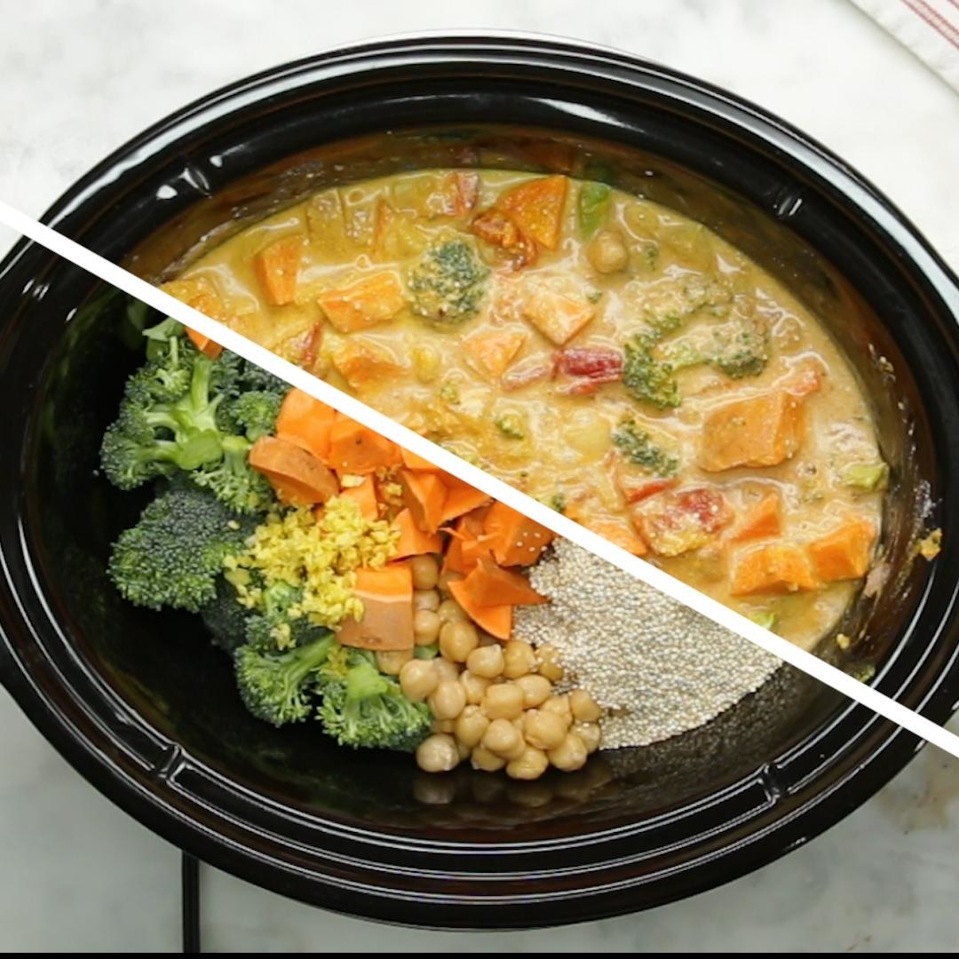 Slow Cooker Coconut Curry  -  This vegetarian curry, loaded with all kinds of hearty veggies, is just the thing to eat on a cold winter night. Get the recipe .