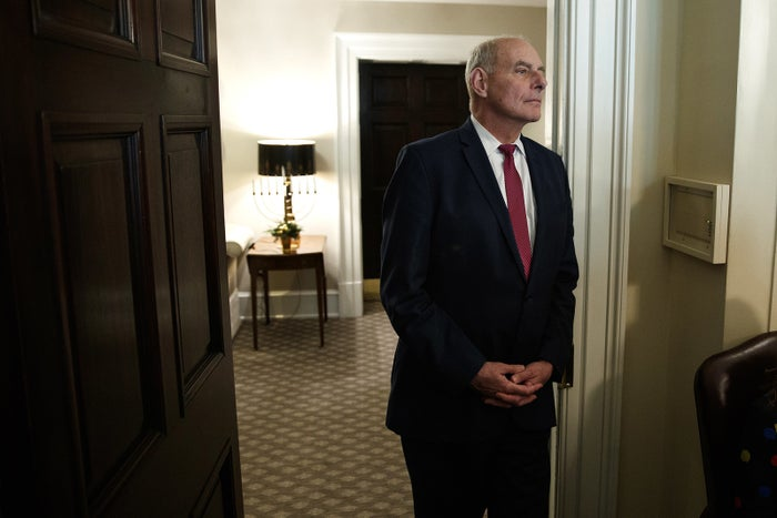 White House Chief of Staff John Kelly listens as President Donald Trump speaks during a meeting with newly elected governors in the Cabinet Room of the White House on Dec. 13.