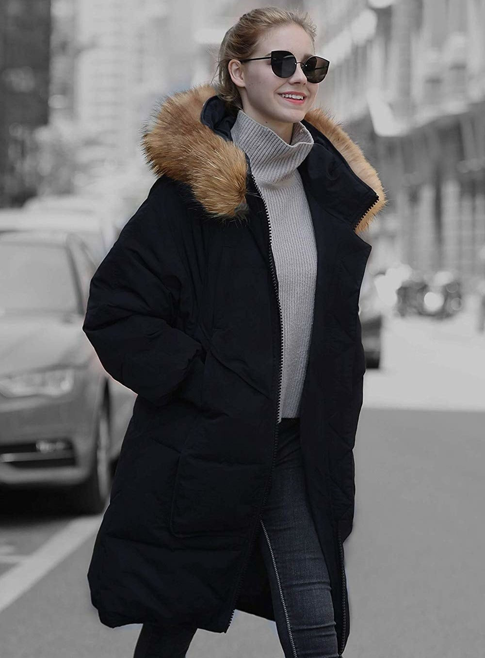 """Promising review: """"This is an amazing coat. The quality is fabulous. Fabric is marvelous. Many pockets. The faux-fur looks awesome, not fake. The zippers are heavy-duty. Extremely warm and comfortable. I usually like to layer in winter, but won't have to with this coat. Perfect for my needs. Trendy and eye-catching coat. You wont be disappointed."""" —SusanPrice: $89.99 (available in three colors, and sizes 4/6–16/18)"""