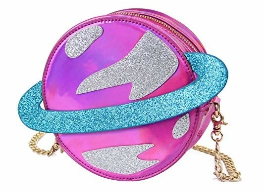 planet shape metallic and glitter cross body purse