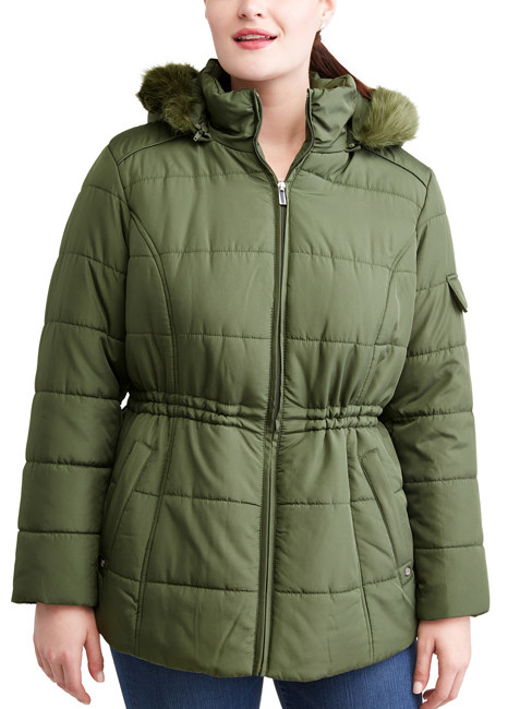 "Includes a detachable hood.Promising review: ""I absolutely love this coat! I'm a big woman. I got size 3XL and it fits well. It isn't bulky, at all. I can wear it with dress pants, jeans, or sweat pants. There is a string inside so that when I dress up it looks great."" —Shy 