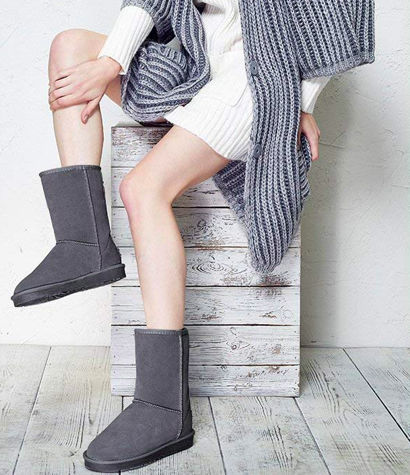 Plus soft boots with furry interior in gray