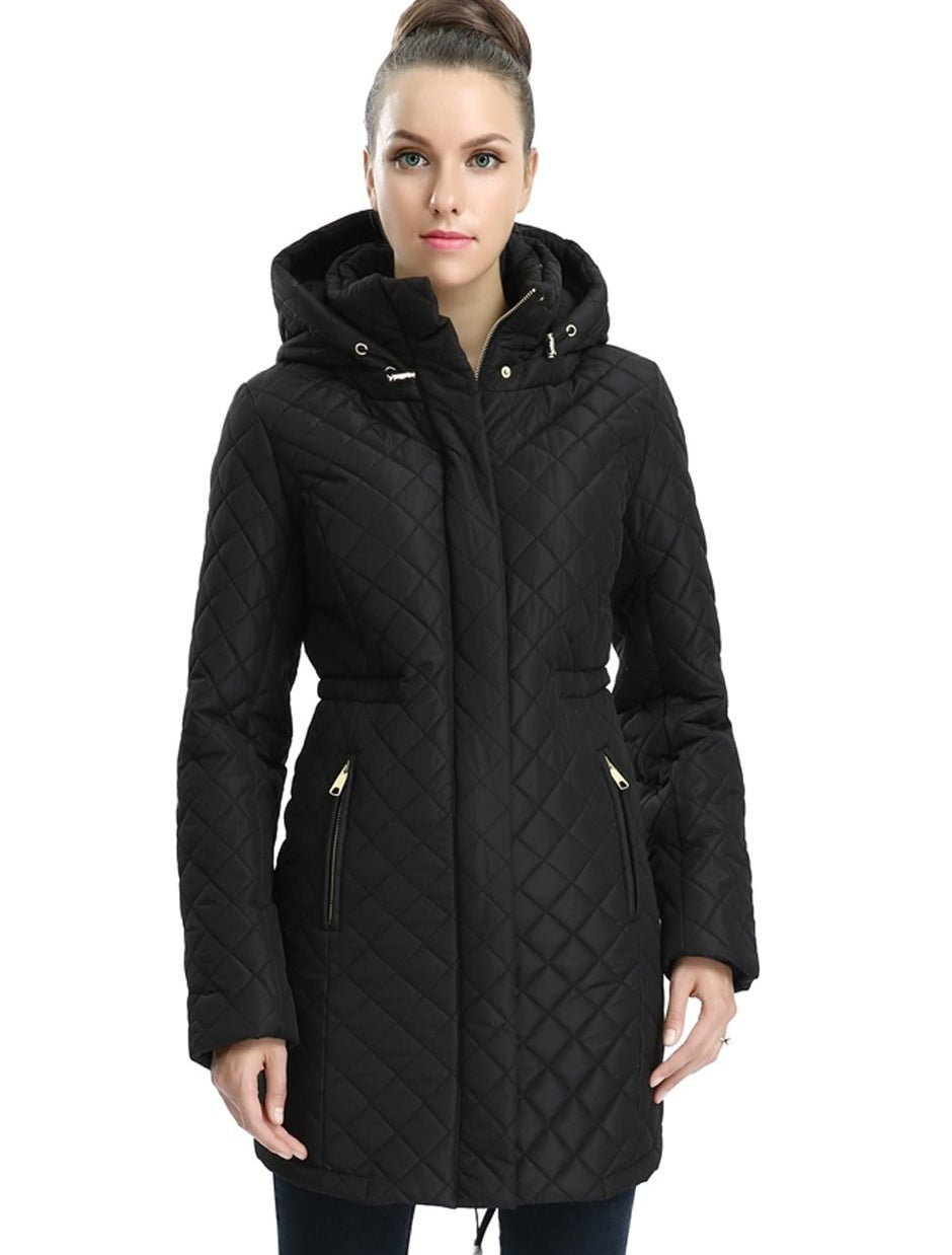 """Promising review: """"I was looking for a coat that was warm, yet not too puffy — trying to avoid looking like in an abominable snowman! After returning a few because they ended up just looking stupid, I was happy to find that this coat is great! It's warm, yet not huge, and BOTH the bottom and the waist area tighten so you can adjust it to your figure. This was key for me! Great coat overall. I will check out others by this brand, as they seem to know what they're doing."""" —Melody JustinePrice: $79.99+ (available in three colors, and sizes S–XL)"""