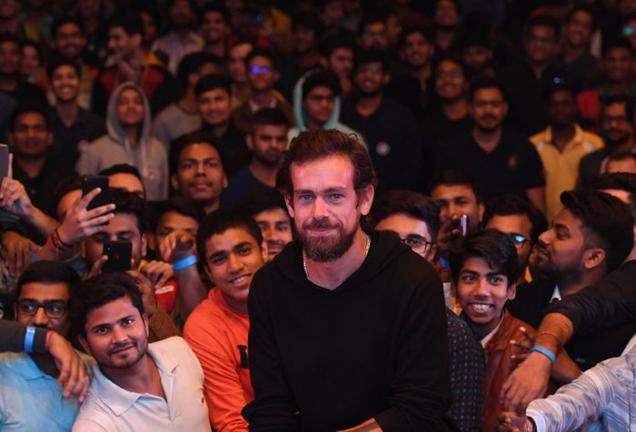 Twitter CEO Jack Dorsey poses with students after a session at the Indian Institute of Technology in New Delhi in November before his trip to Myanmar.