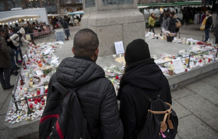 A memorial for those killed in the Strasbourg attack.