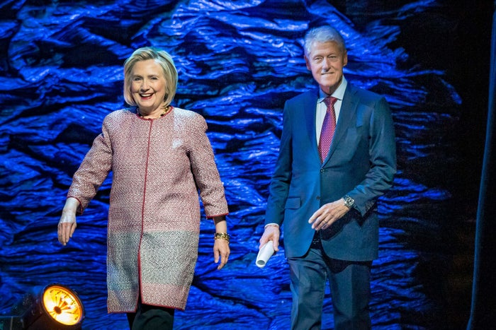 "Hillary and Bill Clinton arrive on stage at the ""Evening With the Clintons"" event on Nov. 28 in Montreal, Canada."