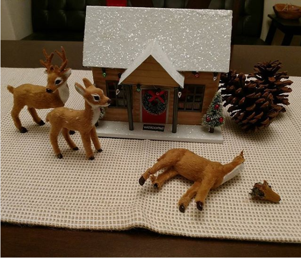 The family that only wanted to put out their reindeer figurines without their dog straight-up decapitating one