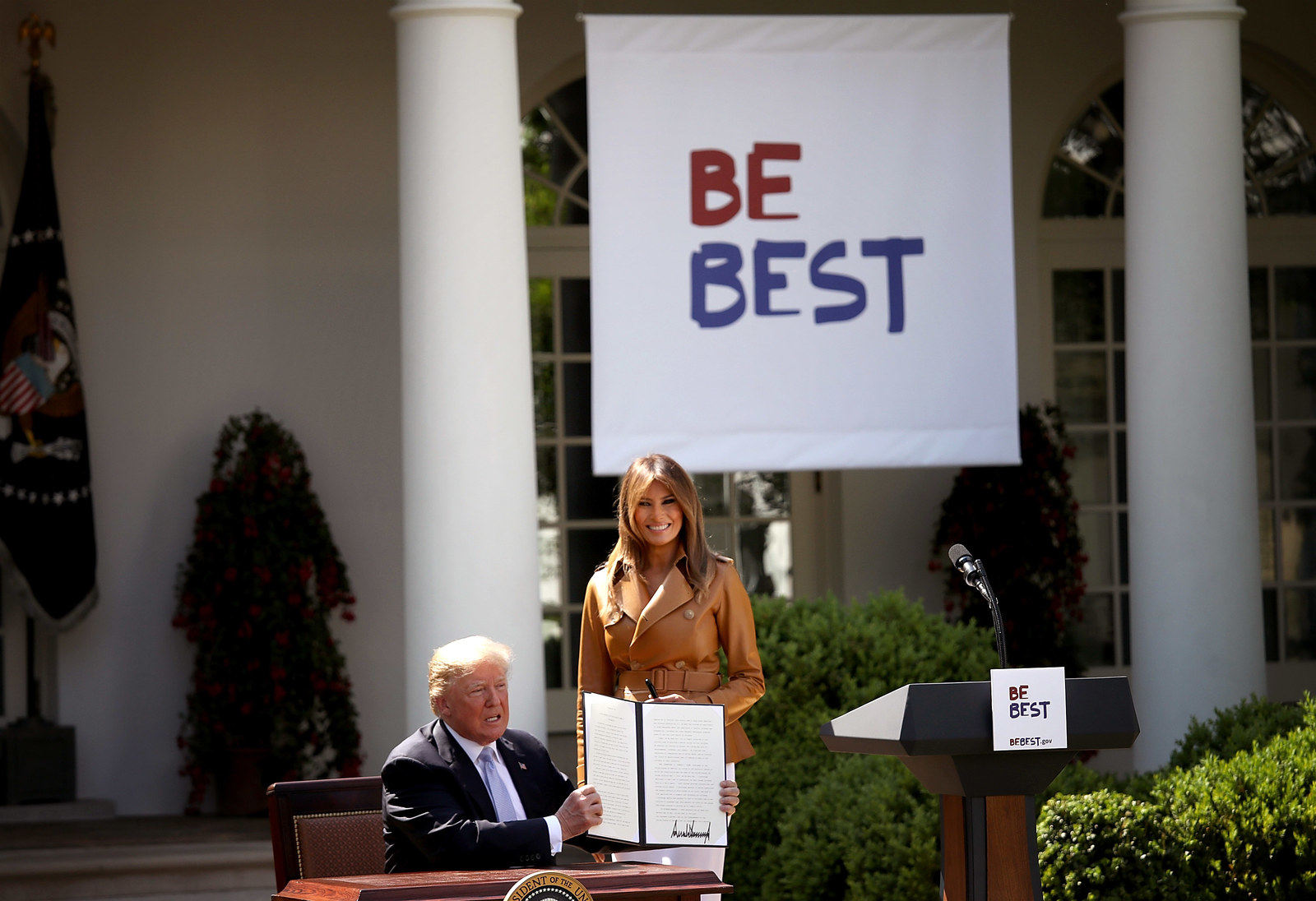 "Trump holds a proclamation for ""National Be Best Day"" with Melania at the White House on May 7."