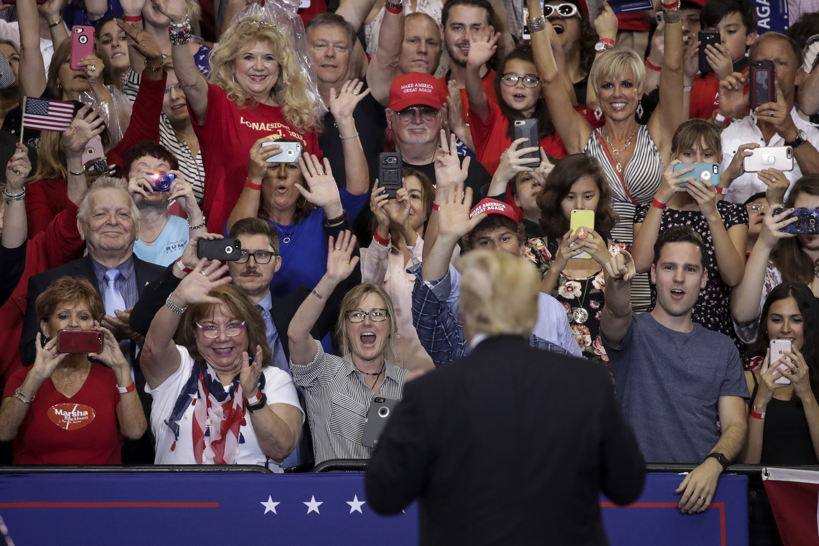 Trump acknowledges the audience during a rally at the Nashville Municipal Auditorium on May 29.