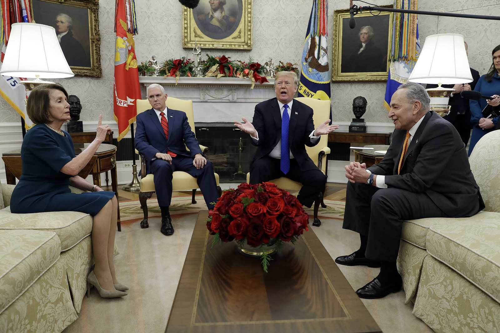 Trump and Vice President Mike Pence with Senate Minority Leader Chuck Schumer and House Minority Leader Nancy Pelosi on Dec. 11.