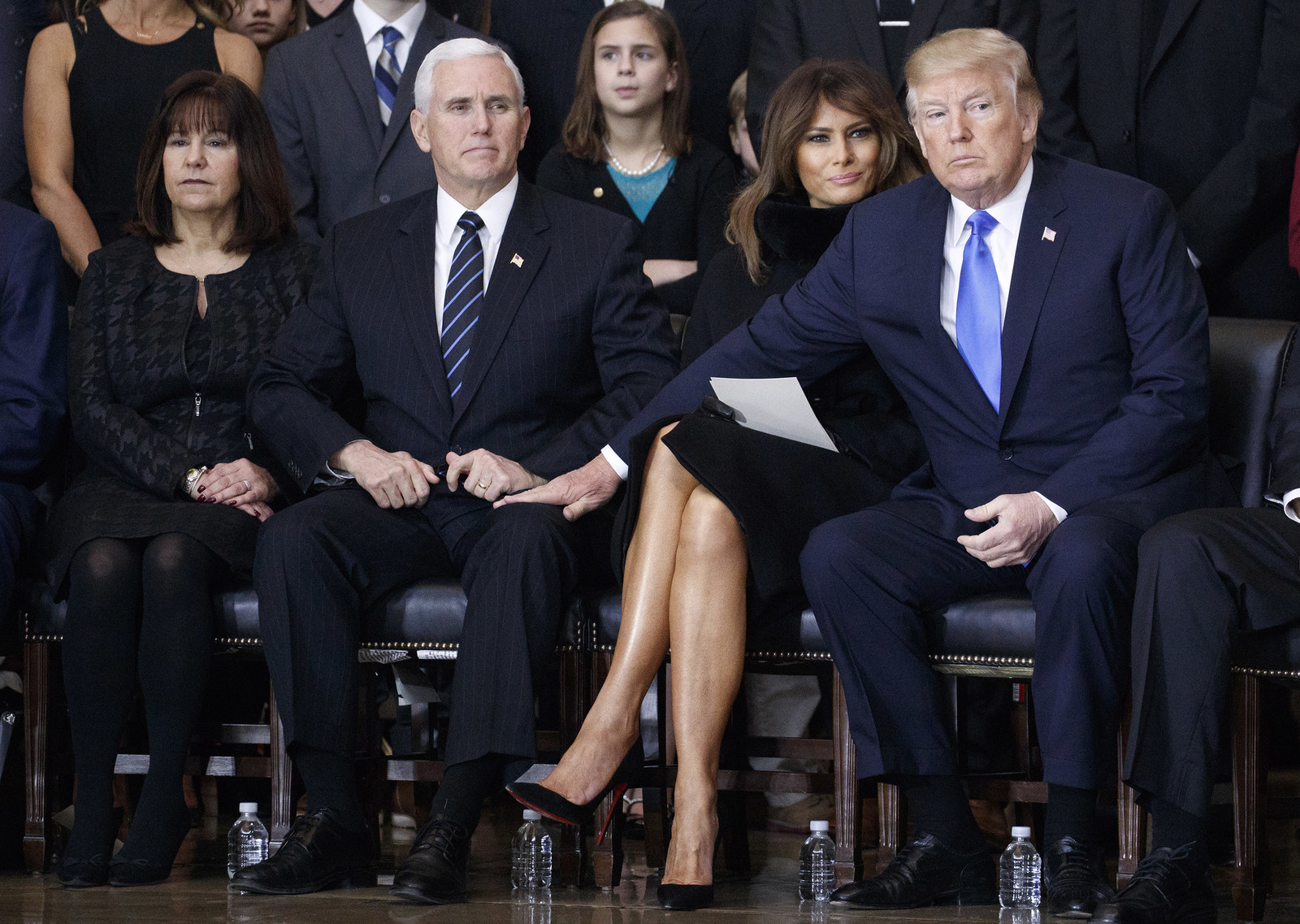 Vice President Mike Pence, Second Lady Karen Pence, President Trump and First Lady Melania attend a service for the late evangelist Billy Graham on February 28.