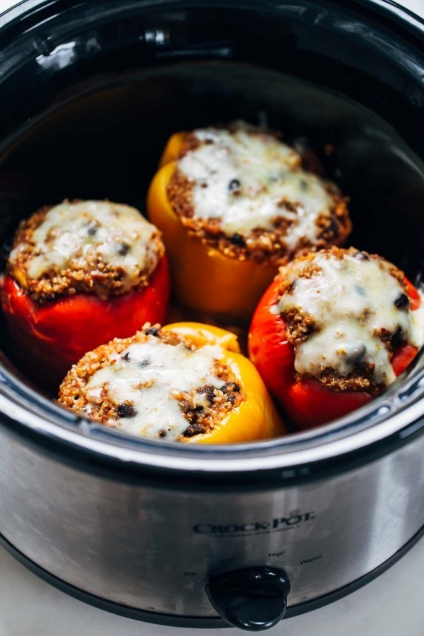 Quinoa Black Bean Crockpot Stuffed Peppers  -  Cooking these peppers low and slow makes them super tender and sweet — the perfect vessel to stuff with quinoa and black beans. Get the recipe .
