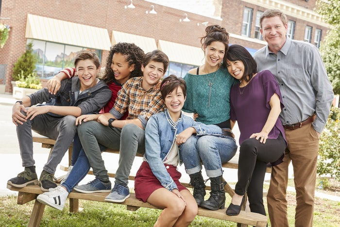 Westmoreland, right, with the cast of Andi Mack.