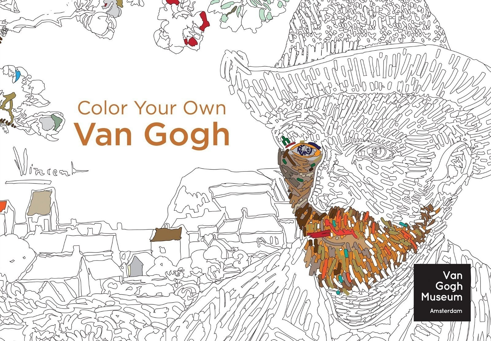 The cover of the coloring book, in the style of one of his paintings