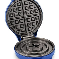 The waffle maker's inside, with traditional waffle-shape on the top plate, and Cap's shield shape on the bottom plate