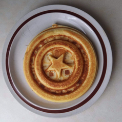 A reviewer's waffle, showing the imprint of the shield