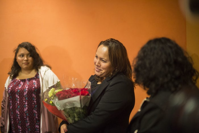 Nurse Maria Mendoza-Sanchez meets her family after returning from Mexico.