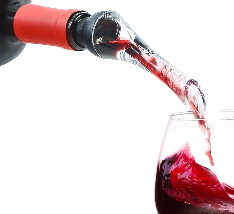 """Promising review: """"All other reviewers are correct. I tried my wine with and without the aerator, WOW and WOW. What a difference. I drink two glasses per day, and this is a treat. I highly recommend this aerator for wine drinkers."""" —Jai T. DoshiGet it from Amazon for $12.99."""
