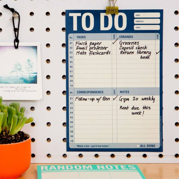 "Promising review: ""How did I make to-do lists without this pad? I love this to-do pad. It has everything organized so well and I always start out my day jotting down what I need to get done in each section. Not sure how I lived without it in the past! Will definitely order more for myself and as gifts for friends who need to organize a bit better. Brings me such satisfaction to know that I accomplished everything I needed to do. High quality and well-thought-out."" —Amazon CustomerGet it from Amazon for $7+ (also available in ""All Out Of,"" ""Self-Therapy,"" and other options)."