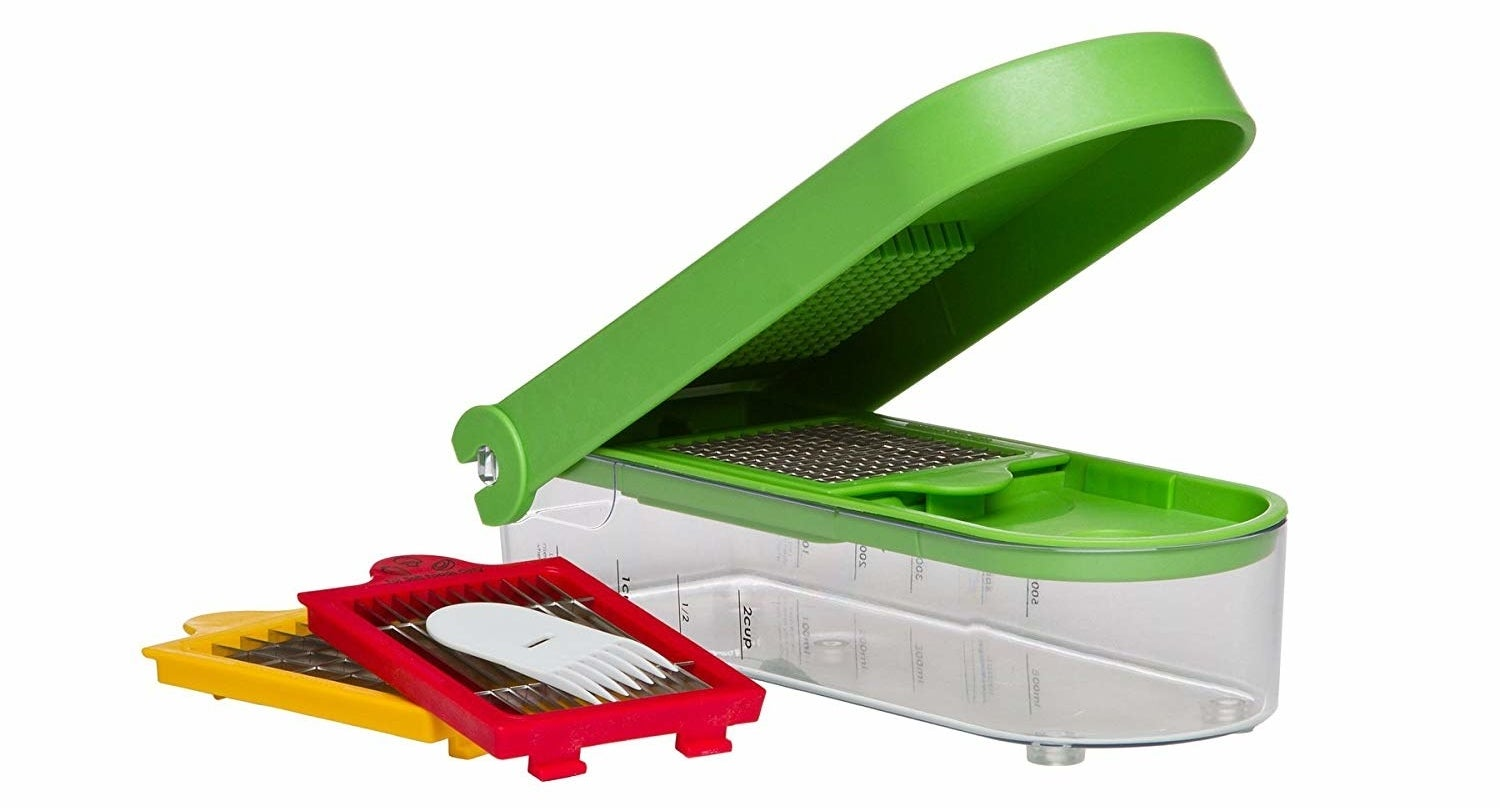Comes with three interchangeable blades so you can perfectly chop, dice, and slice. Features a clear, non-skid base that catches cut up food and measure marks for up to 2 cups. It's BPA-free, and dishwasher-safe!Get it from Jet for $21.99 (originally $29.99).
