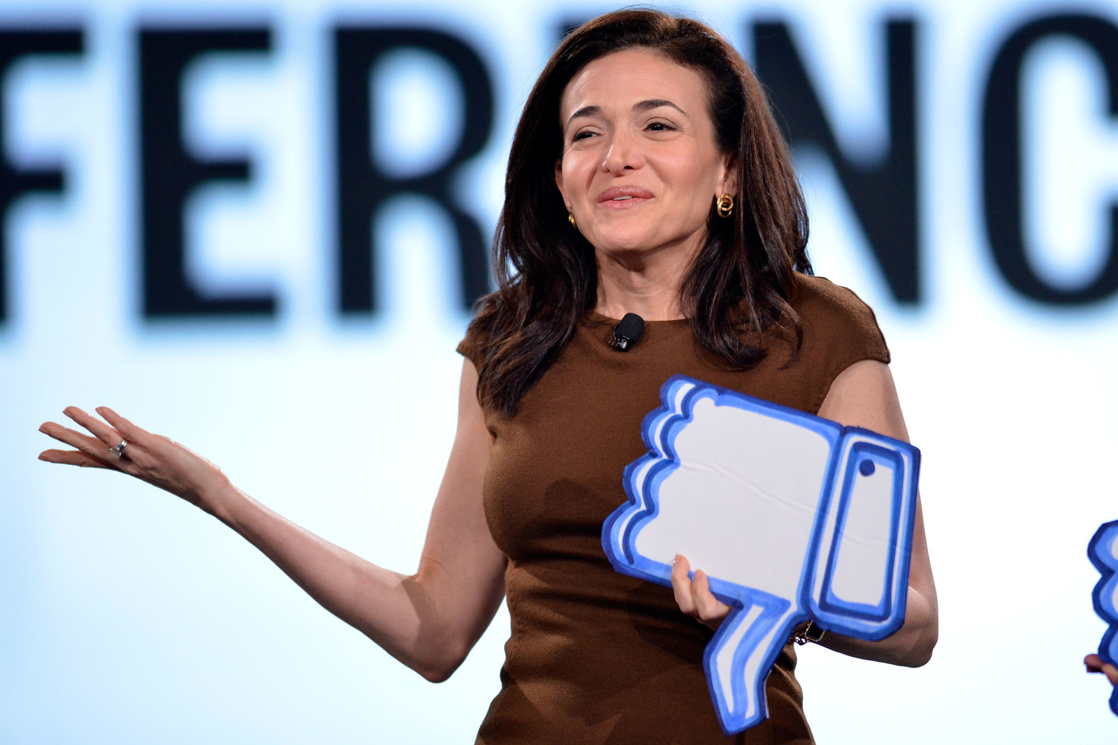 Sandberg speaks on stage at The 2017 MAKERS Conference at Terranea Resort and Spa on February 7, 2017 in Rancho Palos Verdes, California.