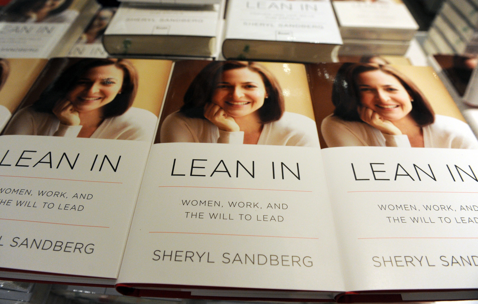 Copies of COO of Facebook Sheryl Sandberg's book 'Lean In: Women, Work, and the Will to Lead' sit on a table at the Zeit (German weekly newpaper) Conference in Hamburg, Germany, April 18, 2013.