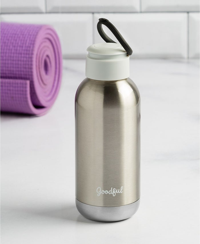 This bottle features a silicone ring that can be used as a handle for easy carry. It's condensation-free and vacuum sealed so you know it's safe to throw in your bag.Get it from BuzzFeed's Goodful line exclusively sold at Macy's for $21.99 (available in four colors).