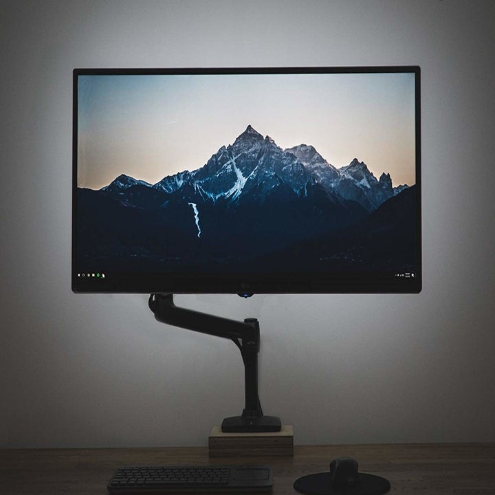 A TV with soft ambient light because of the LEF light strip.