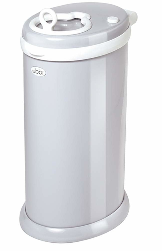 the diaper pail in minimalist light gray
