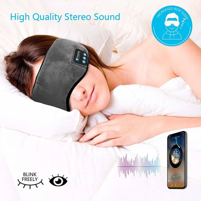 "Promising review: ""Really long battery life, and very comfortable. I've tried other sleep masks but always get really uncomfortable when I turn to the side due to a huge blocky speaker, but not so with these. I occasionally forget to plug it in when I wake up but it's usually good for at least one more night, even into the morning. The only thing I would change is allowing a few more volume levels because even the lowest setting can be louder than I prefer. Even with that small issue, it's the best sleep mask I've ever purchased and perfectly meets my needs."" —CoryGet it from Amazon for $24.99."