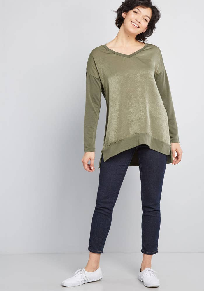 f100753b06 A tunic that's fancy in the front, cozy in the back, and essential for  anyone who prefers lives in leggings all winter.
