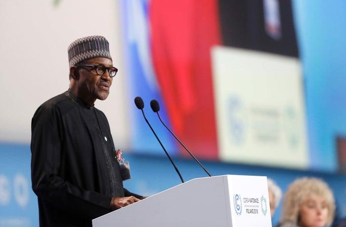 President of Nigeria Muhammadu Buhari, who is alive, speaks during the COP24 summit.
