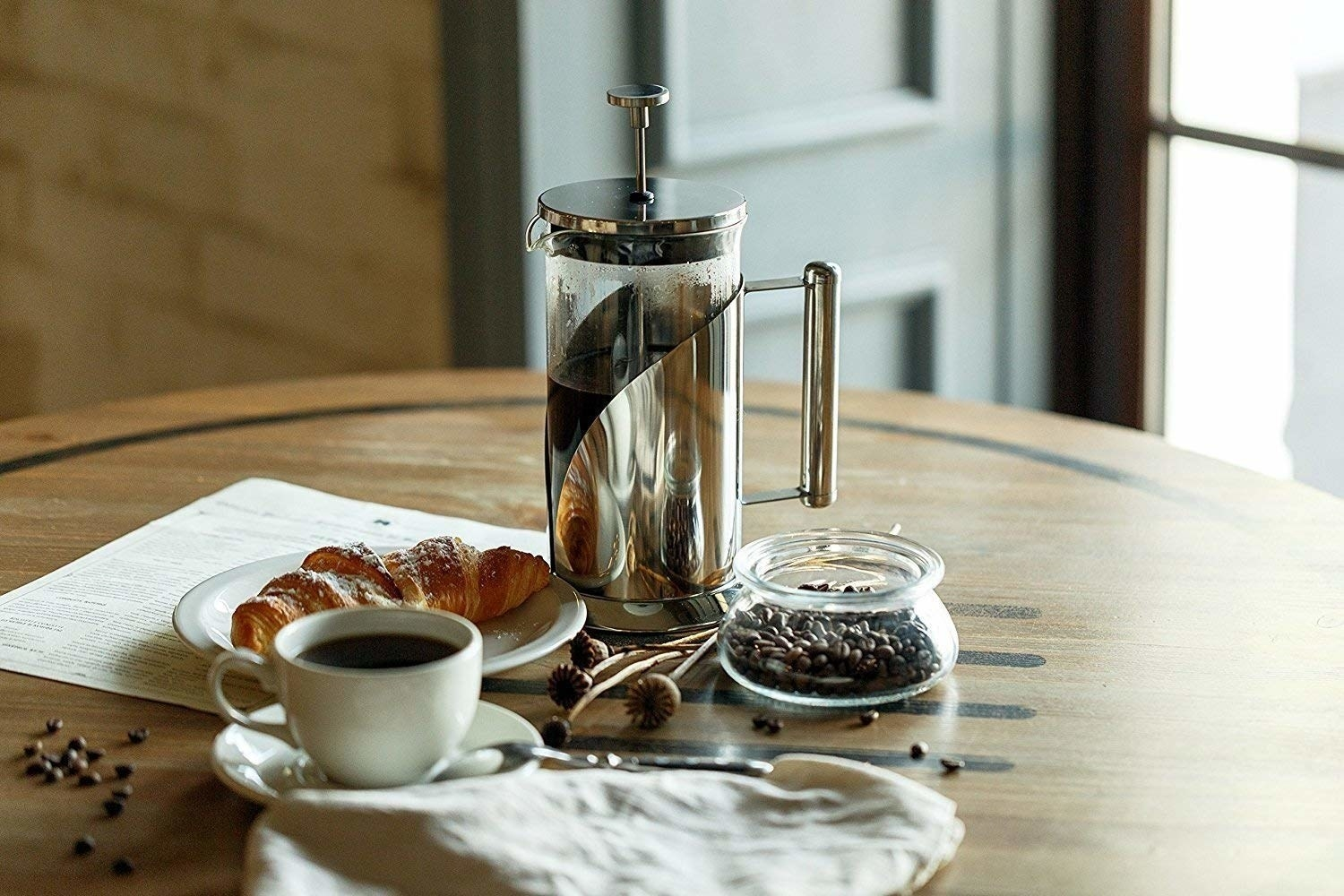 the coffee press on a table