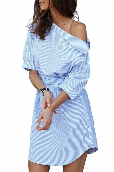 5c0f4f29178e A chic deconstructed shirt dress here to prove pinstripes aren t just for  work
