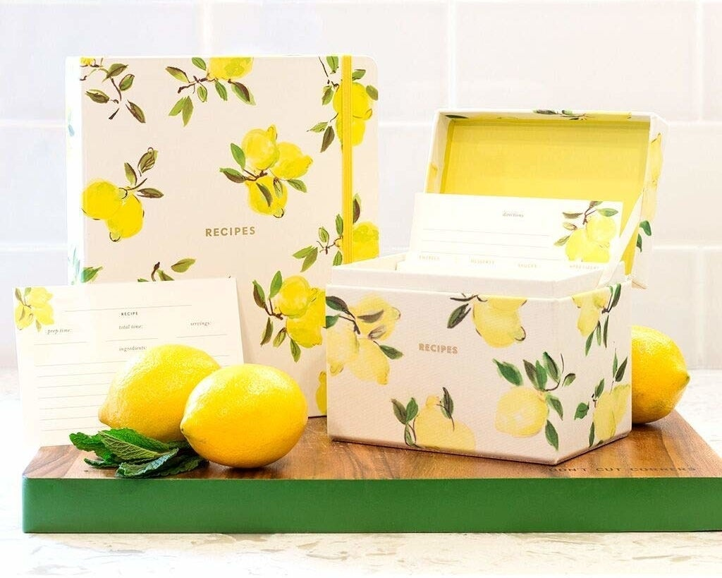 the recipes box covered in a lemon pattern