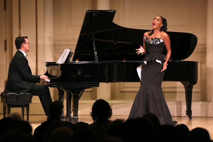 Bridges and pianist Mark Markham perform at her Carnegie Hall debut in the Weill Recital Hall on December 13, 2018.