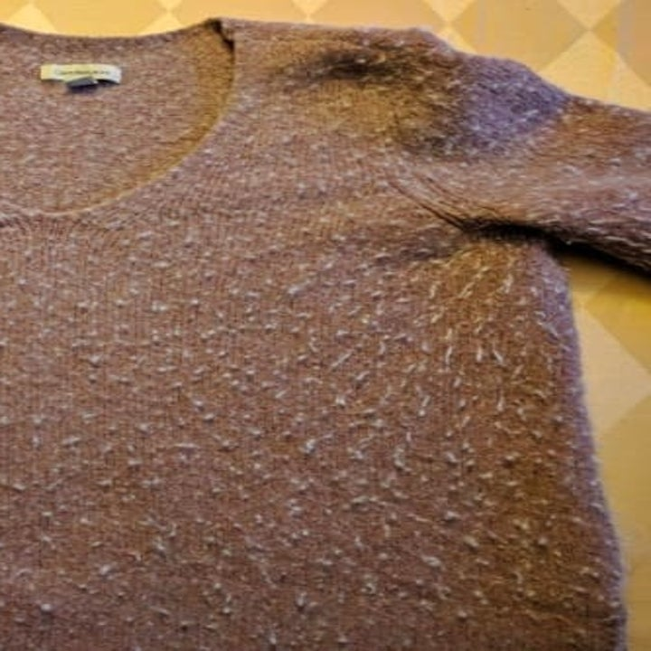 reviewers sweater before, covered in pills