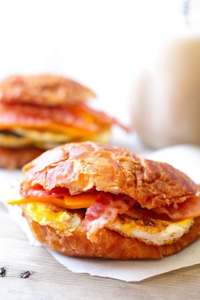 Freeze each of the ingredients (the cheese, bacon, and egg) separately. Then layer the frozen ingredients between croissants, wrap them, and place them in the freezer. When you want to serve breakfast, all it takes is two minutes in the microwave. Get the recipe.