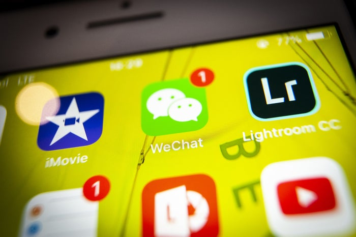 The Chinese messaging application WeChat is seen on an iPhone on July 27.