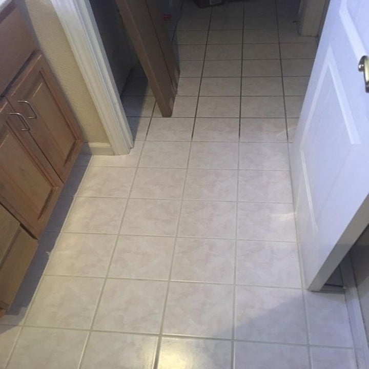 A reviewer's tile floor, mid-cleaning: with dark, dirty group on top and totally clean gout the same light color as the tiles after cleaning