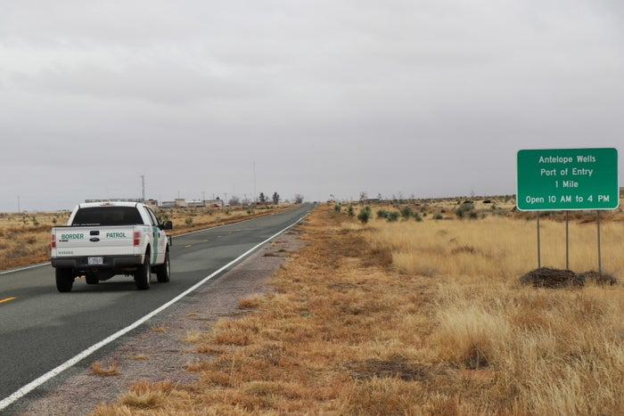 A highway marker directs traffic to the Antelope Wells Port of Entry in New Mexico.