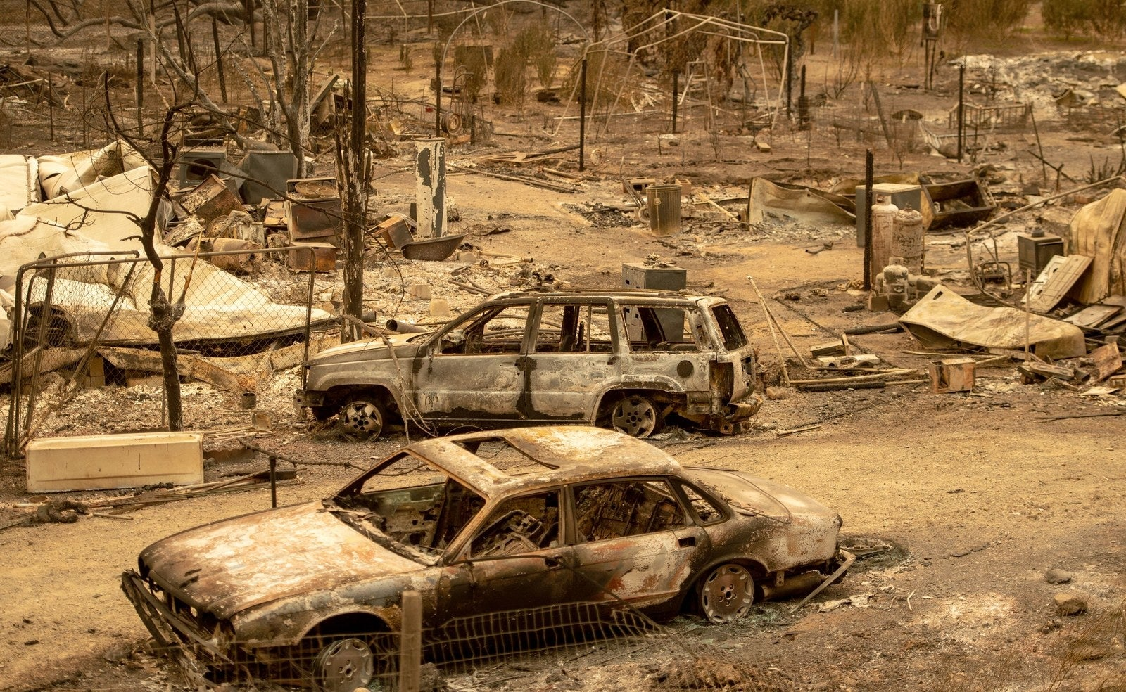 Burned-out cars from the Ranch fire, part of the Mendocino Complex fire, which hit Spring Valley in Northern California, on Aug. 7.