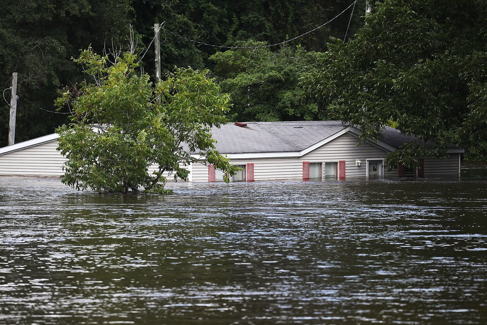 Floodwaters from the cresting Little River inundated the area of Spring Lake, North Carolina, during Hurricane Florence, Sept. 17.